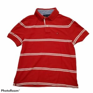 Tommy Hilfiger red white striped polo golf shirt
